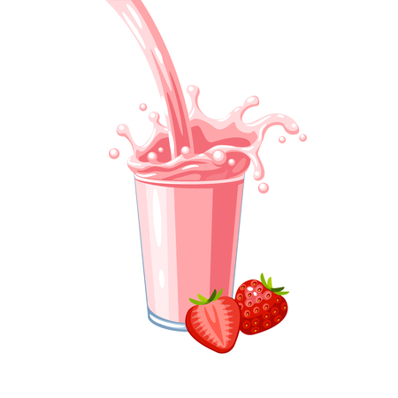 Colorful fruit milkshake design. Pink milky flow and splash in full glass of strawberry milk shake. Vector illustration cartoon flat icon isolated on white.