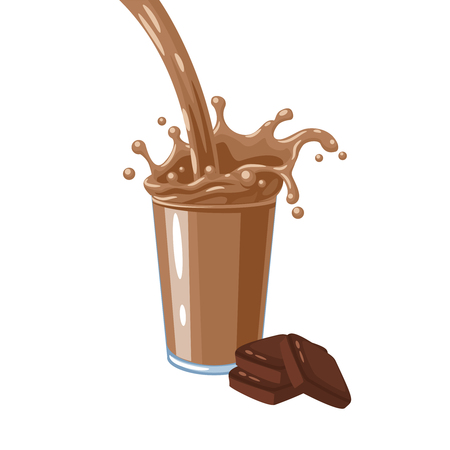 Colorful milkshake design. Choco milky flow and splash in full glass of chocolate milk shake. Vector illustration cartoon flat icon isolated on white.