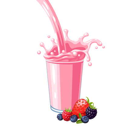 Colorful fruit milkshake design. Pink milky flow and splash in full glass of wild berries milk shake. Vector illustration cartoon flat icon isolated on white. Illusztráció