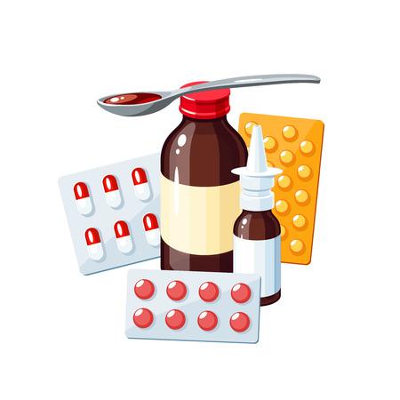 Medicamentos para el dolor de garganta, la gripe, la secreción nasal, la gripe, la tos: jarabe medicinal, aerosol nasal, píldoras, cápsulas, medicamentos. Ilustración vectorial cartel de icono de dibujos animados en blanco.