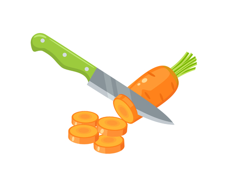 Cooking vegetables slicing carrot by knife vector illustration cartoon flat icon