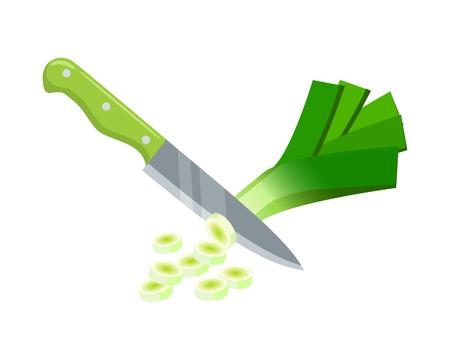 Cooking vegetables slicing leek by knife vector illustration cartoon flat icon Illustration