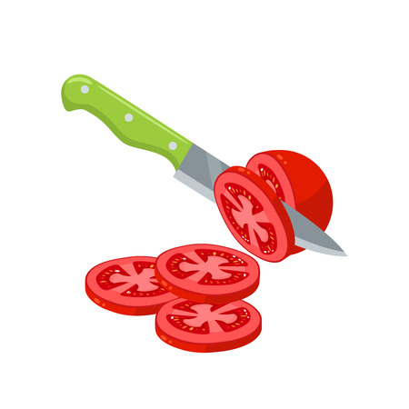 Cooking vegetables slicing tomato by knife vector illustration cartoon flat icon Ilustrace