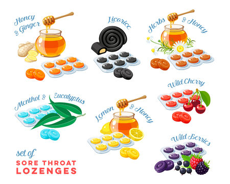 Cough drops sore throat remedy colorful set of package of lozenges flavored different tastes with inscriptions vector illustration cartoon flat icon collection