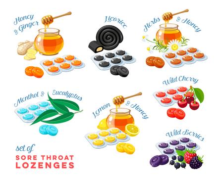 Gocce per la tosse mal di gola rimedio colorato set di pacchetto di losanghe condito gusti diversi con iscrizioni illustrazione vettoriale piatto icona collezione di cartoni animati Vettoriali