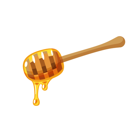 Honey dipper isolated flat icon vector illustration