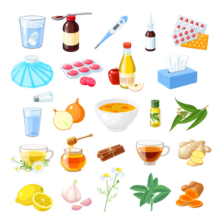 Set of home remedy for sore throat, flu, influenza, cough medicine, syrup, honey, natural herbs, spices lozenges, pills, capsules, and drugs icon vector illustration