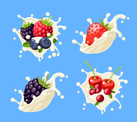 Colorful fruit design. Set of berries in white milk splash burst. Vector illustration cartoon flat icon collection isolated on blue. Illustration