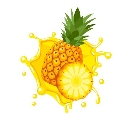 Kolorowy owocowy projekt. Rozbryzguje się plusk żółtego soku ananasowego. Wektor ilustracja kreskówka płaski ikona na białym tle.