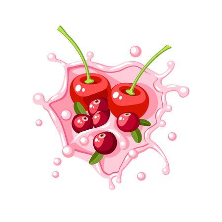 Colorful fruit design. Cherry, cranberry in pink milk splash burst. Vector illustration cartoon flat icon isolated on white.