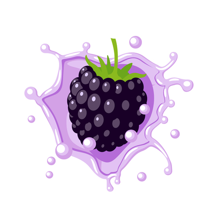Colorful fruit design.  berry in lilac-colored milk splash burst. Vector illustration cartoon flat icon isolated on white.
