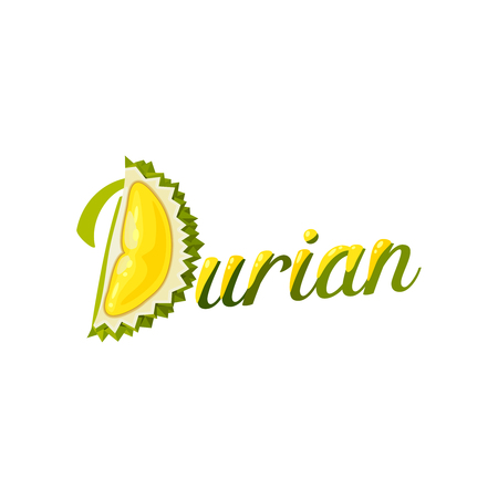 Summer tropical fruits for healthy lifestyle. Sign made of piece of durian fruit with lettering. Vector illustration cartoon flat icon isolated on white. Illustration