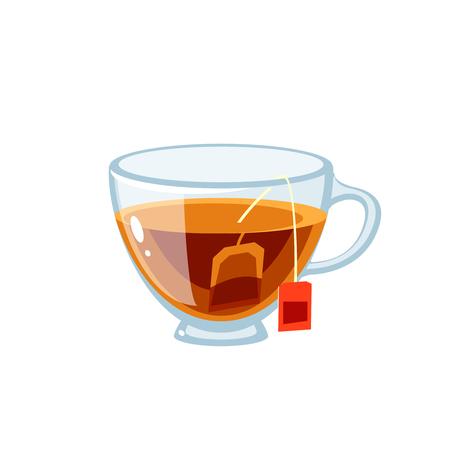 Tazza di vetro trasparente piena di tè, con bustina di tè. Icona piana del fumetto dell'illustrazione di vettore isolata su bianco. Vettoriali
