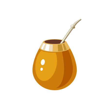Mate Traditional calabash gourd and bombilla. Vector illustration cartoon flat icon isolated on white.