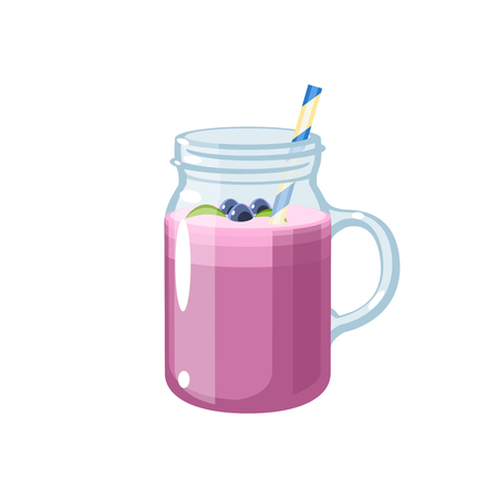 Jar of smoothie with straw. Vector illustration cartoon flat icon isolated on white.