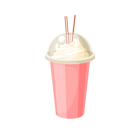 Plastic cup with lid and straw, full of milkshake. Vector illustration cartoon flat icon isolated on white. Иллюстрация