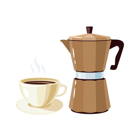 Colazione, delizioso inizio della giornata. Retro macchina da caffè e tazza del geyser. Icona piana del fumetto dell'illustrazione di vettore isolata su bianco.