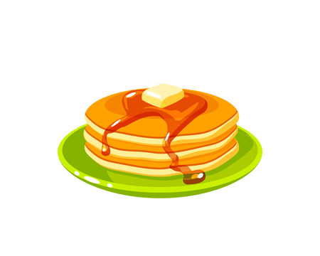 Breakfast, delicious start to the day. Plate with pile of best in town pancakes with butter and maple syrup. Vector illustration cartoon flat icon isolated on white.