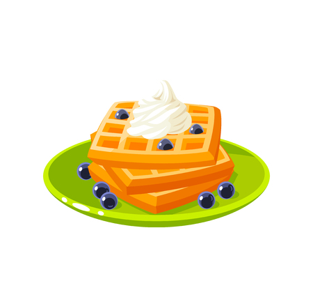 Breakfast, delicious start to the day. Plate with pile of best in town waffles topped with whipped cream and berries. Vector illustration cartoon flat icon isolated on white.  イラスト・ベクター素材