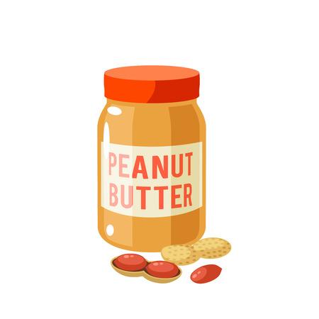 Colazione, delizioso inizio di giornata. Vasetto di burro di arachidi e arachidi. Icona piana del fumetto dell'illustrazione di vettore isolata su bianco.