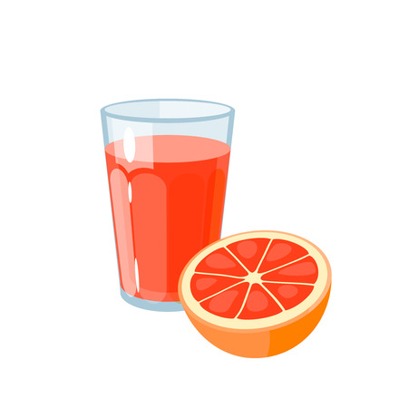 Breakfast, delicious start to the day. Glass of fresh juice and grapefruit. Vector illustration cartoon flat icon isolated on white.