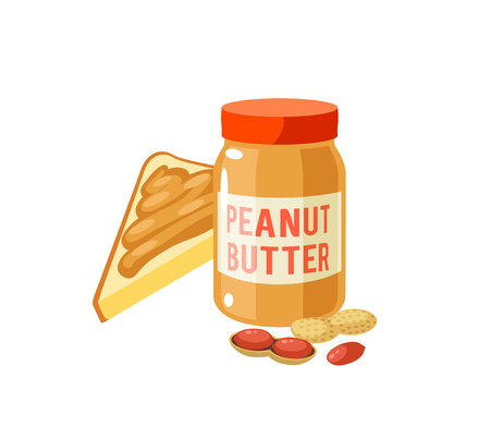 Breakfast, delicious start to the day. Peanut butter jar and toast. Vector illustration cartoon flat icon isolated on white.