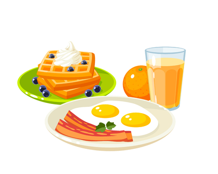Breakfast menu set with fried eggs and sliced bacon, glass of fresh orange juice and pile of waffles topped with whipped cream and berries. Illustration