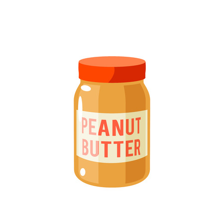 Delicious peanut butter on a jar.
