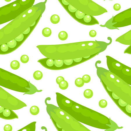 Seamless background. Green pea pod. Vector illustration cartoon flat icon isolated on white.