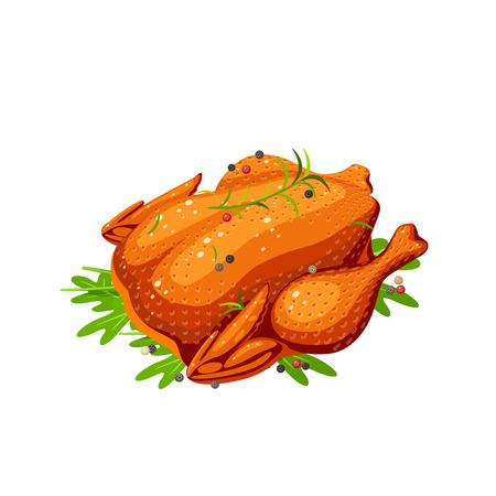 Fried whole chicken. Vector illustration cartoon flat icon isolated on white. Ilustração Vetorial