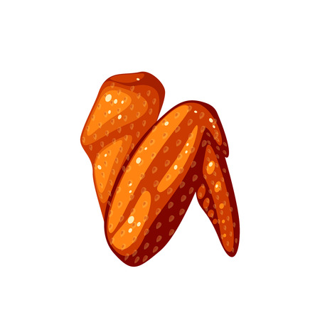 Fried chicken wing. Vector illustration cartoon flat icon isolated on white. Иллюстрация