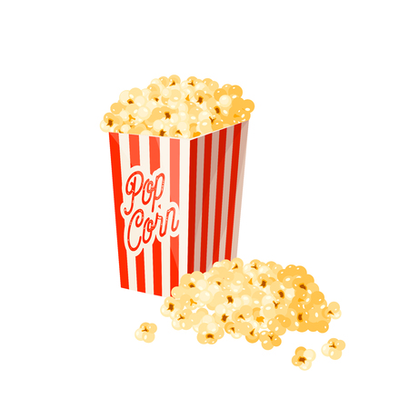 Caramel popcorn in striped paper bag. Vector illustration cartoon flat icon isolated on white. Ilustração