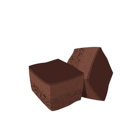 Cubic portions of brownie. Vector illustration cartoon flat icon isolated on white.