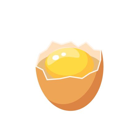 Breaked brown egg. Vector illustration flat icon isolated on white.