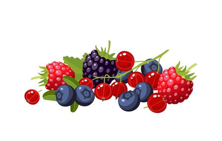 Design composition of colorful cartoon berries