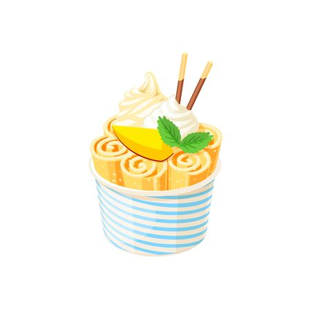 Basket of stir fried yellow ice cream rolls under whipped cream decorated with mango slice. Vector illustration cartoon flat icon isolated on white.