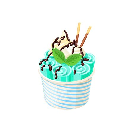 Basket of stir fried green ice cream rolls under chocolate topping and whipped cream decorated with mint leaves.