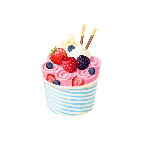 Basket of stir fried pink ice cream rolls under whipped cream decorated with berries.