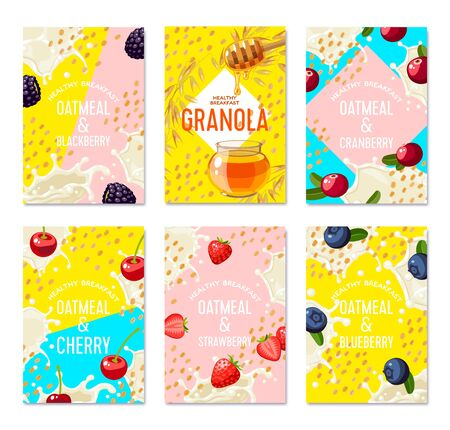 Set of packaging label design templates for granola bar, oatmeal cereal with berries. Colorful vector cartoon illustration.