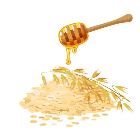 Ingredients for healthy breakfast. Honey dipper, oat grain and spike ear. Vector illustration cartoon flat icon isolated on white.