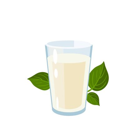 Dairy-free vegan milk glass. Vector illustration cartoon flat icon isolated on white.