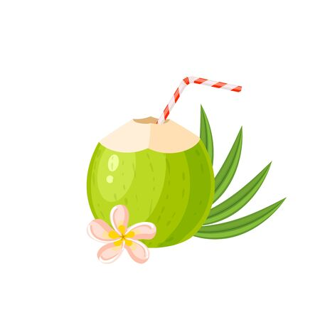 Young green coconut water drink. Vector illustration cartoon flat icon isolated on white.