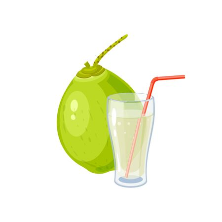 Glass of young green coconut water drink. Vector illustration cartoon flat icon isolated on white.