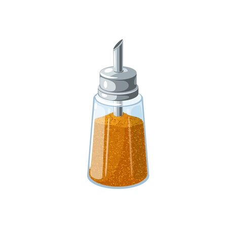 Sugar dispenser full of brown cane sugar. Vector illustration flat cartoon icon isolated on white background.