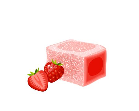 Turkish delight, lokum. Traditional oriental sweet candy with strawberry. Vector illustration cartoon icon isolated on white.