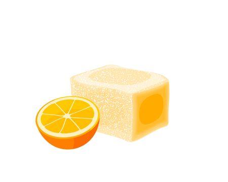 Turkish delight, lokum. Traditional oriental sweet candy with orange. Vector illustration cartoon icon isolated on white. Иллюстрация