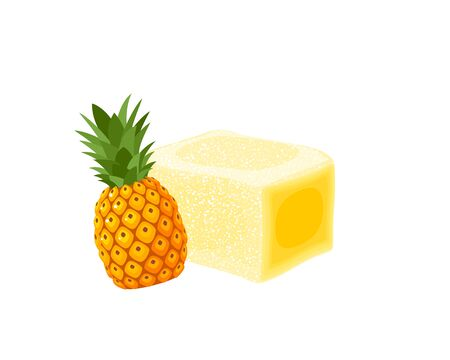 Turkish delight, lokum. Traditional oriental sweet candy with pineapple. Vector illustration cartoon icon isolated on white.