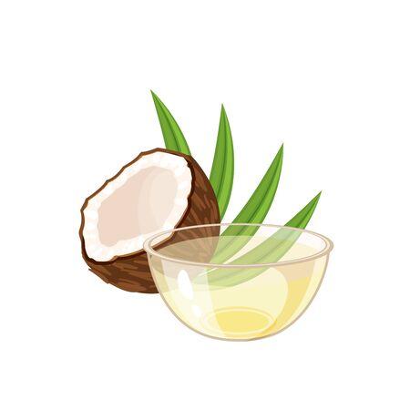 Coconut milk bowl. Vector illustration cartoon flat icon isolated on white.