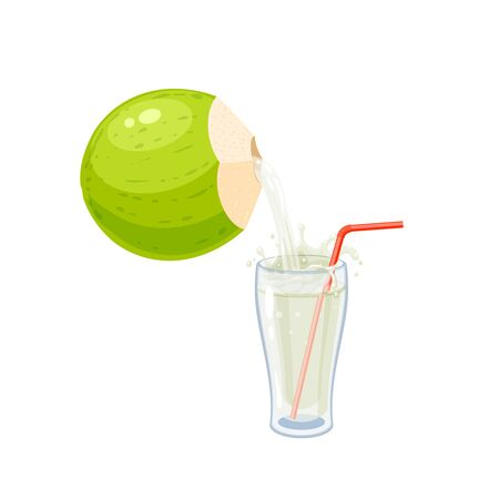 Young green coconut water pouring into glass with straw. Vector illustration cartoon flat icon isolated on white.