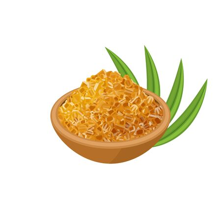 Bowl full of brown rock cane sugar and sugarcane leaves. Vector illustration cartoon flat icon isolated on white background, template for packaging label design.